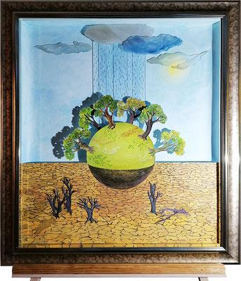 Renaissance Terre, 2020, 85 x 75 cm. Technique mixte : acrylique sur carton, découpages, collages, verre.  encadré