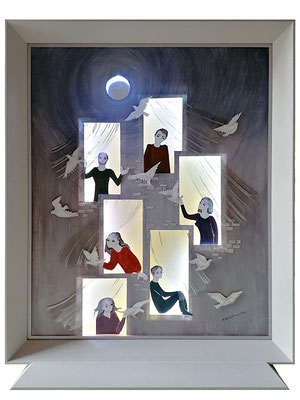 Pensées, 2020, 51 x 62 cm. Technique mixte : plexiglas, Rhodoïd, personnages découpés (carton), lumière intégrée (LED).