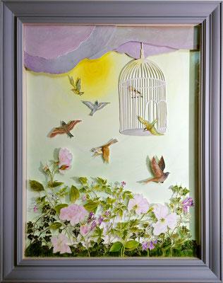 Liberté retrouvée, 2020, 60 x 60 cm. technique mixte : collages, acrylique sur carton.