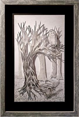 Douceur sylvestre, 2020, 45 x 30 com. Technique : Mine graphite, découpages et collages, encadré.