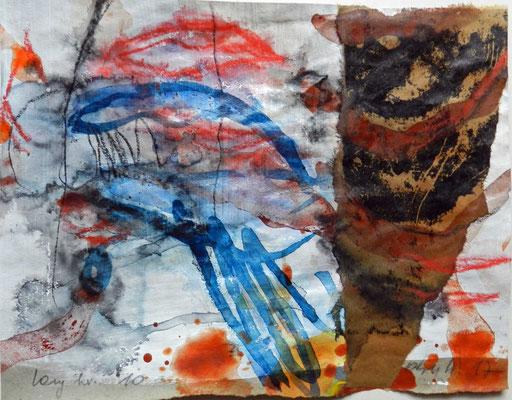 """""""Lang her #10"""", 2017, MT und Collage auf Papier, ca. 18x23,5cm"""