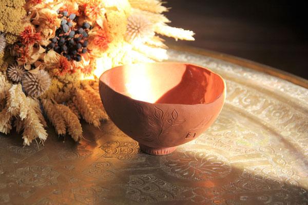 """bol """" gravure d'automne """" en terre cuite"""