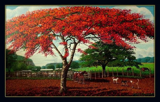 Malinches, caballos, vacas y perros, 150cm x 100cm, acrilico sobre lino, 2016. Disponible.