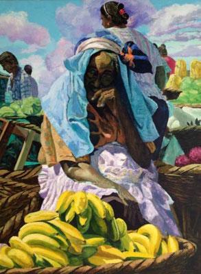 Viejita del mercado I, 120cm, x 100cm, acrilico sobre lino, 2002, coleccion privada, Nicaragua