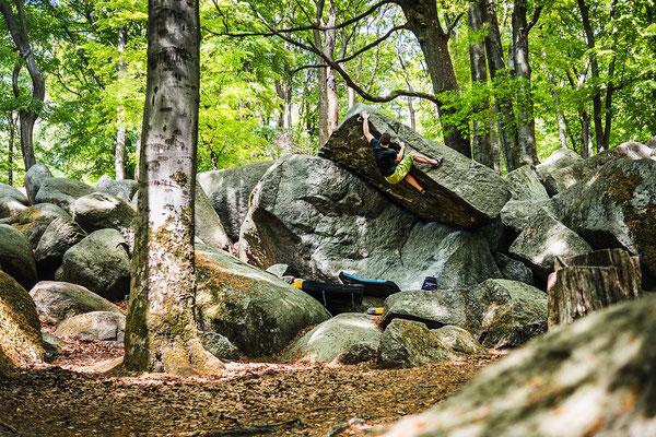 Bouldern im Felsenmeer, Odenwald, DE