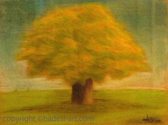 """""""Einsamer Baum""""...Pastellkreide auf Papier 2011  (51 cm x 71 cm)  verkauft"""