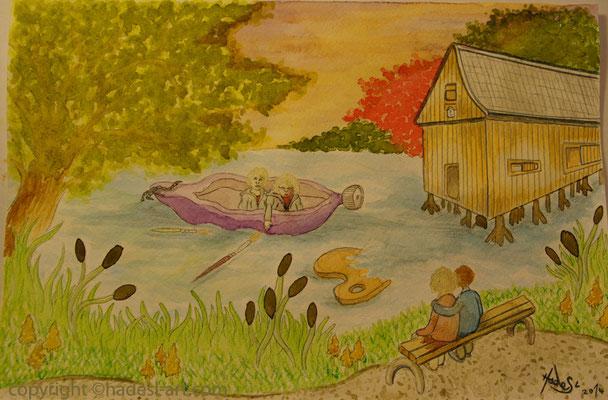 """Hausteich Plothen 2014""...mit Aquarell auf Papier, 30 x 20 cm"