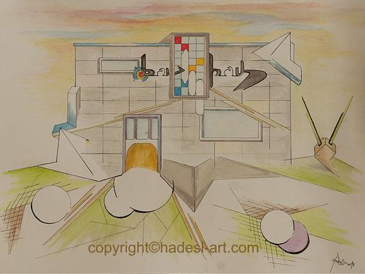 """""""Bauhaus 100""""...Aquarell 2019  (31 cm x 41 cm)"""