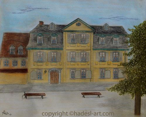 """""""Schillerwohnhaus in Weimar""""...Pastellkreide auf Papier 2015  (51 cm x 71 cm)"""