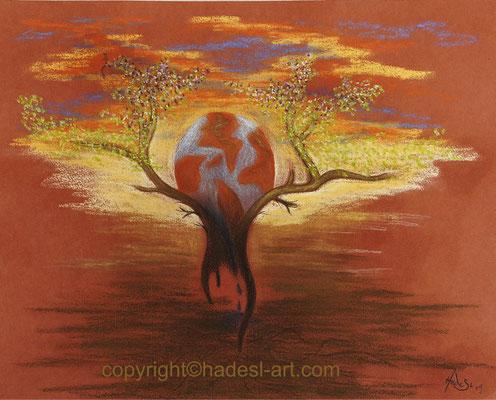 """""""Feuerball""""...Pastellkreide 2019  (51 cm x 71 cm)"""