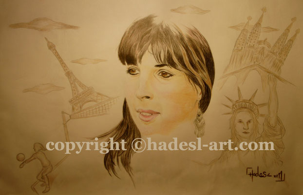 """Portrait""...Buntstifte auf Papier 2011  (30 cm x 42 cm)  verkauft"
