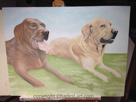 """Hundemotiv""...Ölfarbe auf Holz 2015, 80 x 60 cm"