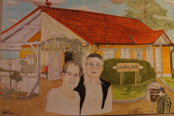 """""""Das LindenCafe""""...Buntstifte, Copic auf Papier 2011, 42x30 cm"""