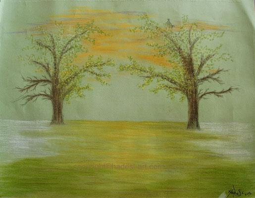 """""""Verbindung zweier Bäume""""...Pastellkreide 2018  (51 cm x 71 cm)"""