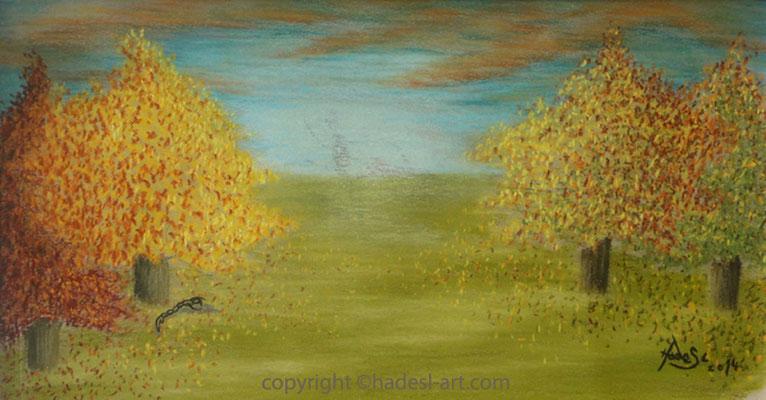 """""""Herbtlandschaft""""... Pastellkreide auf Papier 2014  (20 cm x 40 cm)  verkauft"""