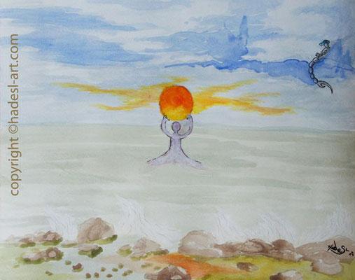 """Eisschmelze""...Aquarell 2014  (31 cm x 41 cm)"