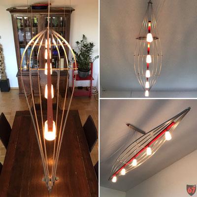 Ceiling lamp with aluminium profiles and Halogen spots - Jürgen Klöck - 2008