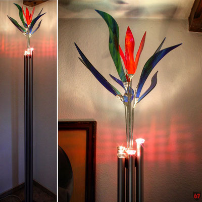 Floor lamp with antique glass and aluminium tubes - Jürgen Klöck - 2001