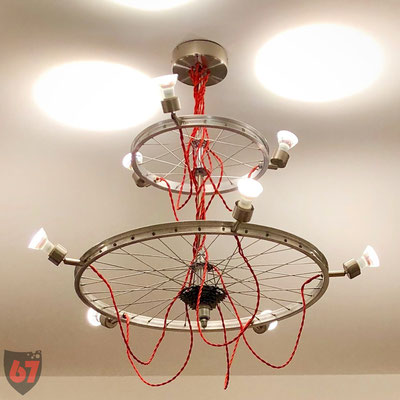 Chandelier with bicycle rims and LED spots - Jürgen Klöck - 2017
