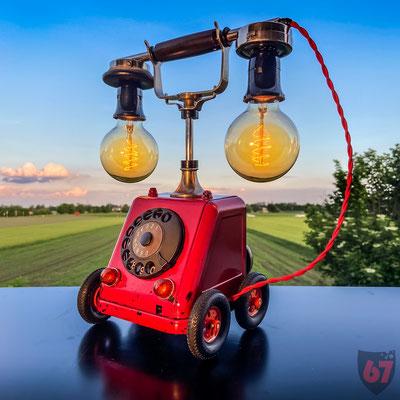 1919 Siemens & Halske Telephone ZB/SA19 and Märklin rubber wheels - Upcycling artwork - Jürgen Klöck - 2020