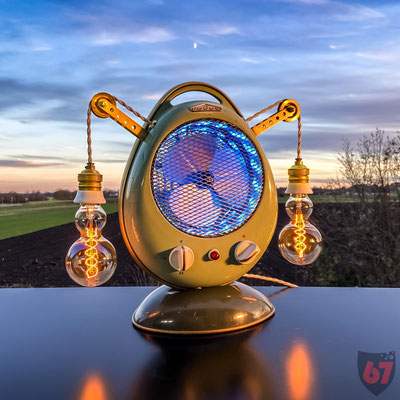 1950s Rodos Heater Fan - Upcycled piece of art with Edison bulbs, RGB LED stripes and custom lamp pulleys - Jürgen Klöck - 2020