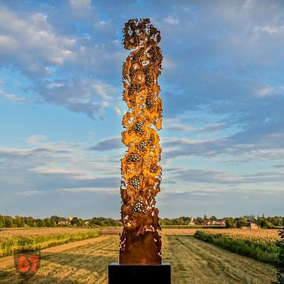 Abstract brass sculpture Monomorphe Struktur - Jürgen Klöck - 1989