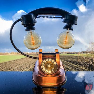 Copper telephone ATEA RTT 56 upcycling lamp - Jürgen Klöck - 2018