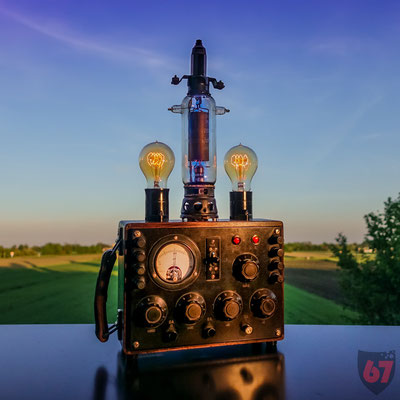 Antique Bell Wheatstone Bridge with WW2 submarine electron tube upcycling lamp - Jürgen Klöck - 2019