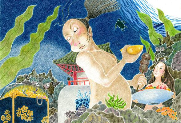 絵本「URASHIMA」欲望(色鉛筆)