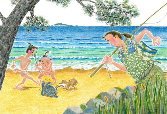 絵本「URASHIMA」虐め(色鉛筆)