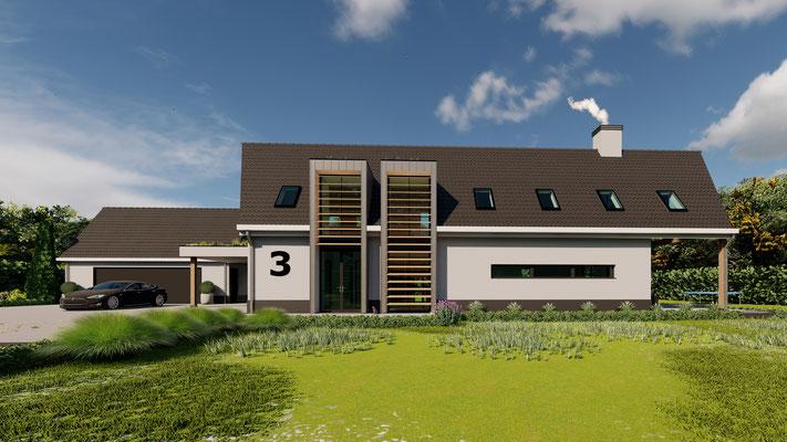 3D ontwerp moderne villa Baarland
