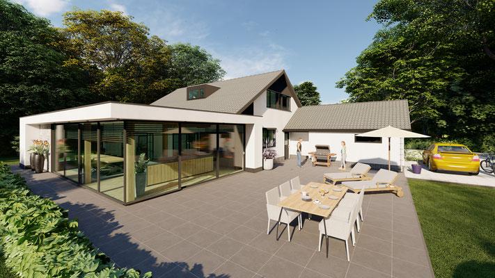 3D ontwerp moderne aanbouw Baarland