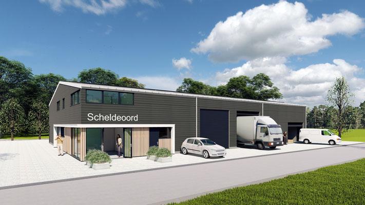 3D ontwerp nieuwbouwloods Baarland