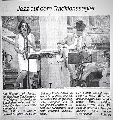 ...Es darf getanzt werden zu Liedern der Swingmusik oder beliebten Jazz Standards