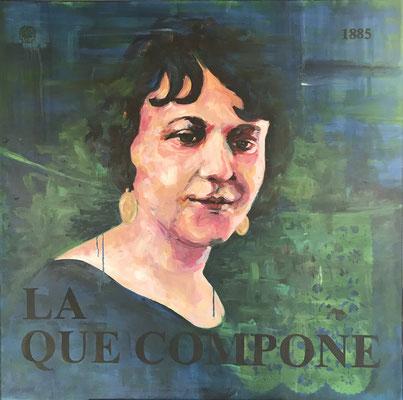 """La que Compone, 2019 Acrylic on canvas, 34""""x34"""" $2,000"""