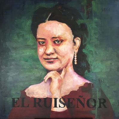 """El Ruiseñor, 2019 Acrylic on canvas, 34""""x34"""" $2,000"""