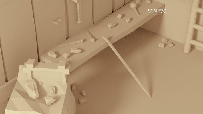 SCAPE3D_MATER scenografia 3d: Laboratorio dello Scalpellino.