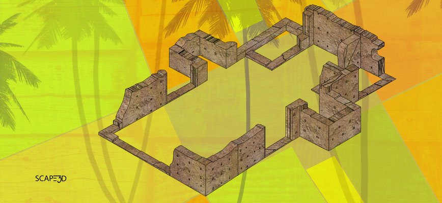 Ermita San Antonio de Padua: vista isométrica de las ruinas_SCAPE3D