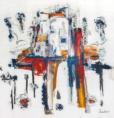 """#2000, """"Baustoff der Gebilde"""", 2013, 190x185cm, Acryl/Kohle auf Leinwand, 4.250,-€"""