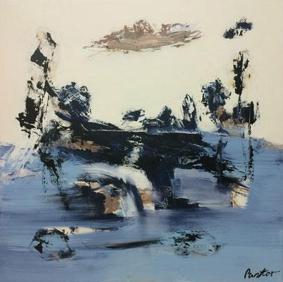"""#2072, """"Wasser der Gebilde"""", 2016, 150x150cm, Acryl auf Leinwand, 3.750,-€"""