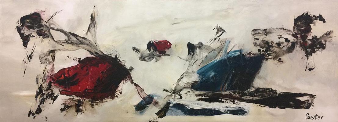 """#594, """"Könnt' ich sprechen, würd' ich's sagen"""", 2006, 100x270cm, Acryl/Öl auf Leinwand, 4.250,-€"""