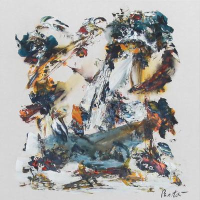 """#2032, """"Entstehende Erwartungen"""", 2015, 80x80cm, Acryl auf Leinwand, 1.950,-€"""