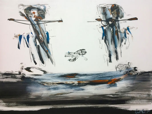 "#2076, ""Schöpfe du, ich halte"", 2016, 120x160cm, Acryl/Kohle auf Leinwand, 3.650,-€"