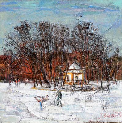 Winterfreuden, 2012, Mischtechnik auf Leinwand, 50 x 50 cm
