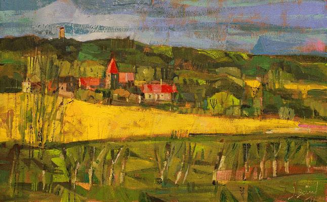 Landschaft bei Lancken Granitz, 2017, Mischtechnik auf Hartfaser, 20 x 32 cm