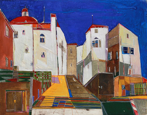 Zitadelle, Radierung, koloriert, 21 x 27 cm
