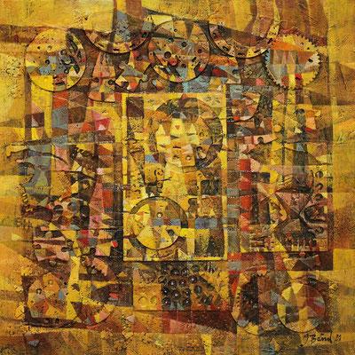 Thesaurus, 2021, Mischtechnik auf Leinwand, 80 x 80 cm