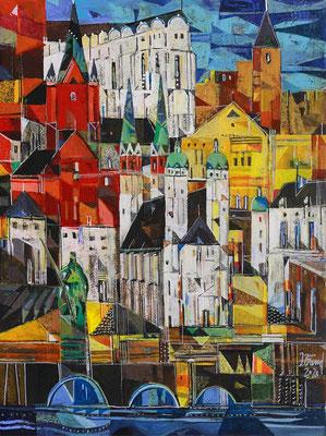 Halle, die Stadt, Radierung, koloriert, 40 x 30 cm