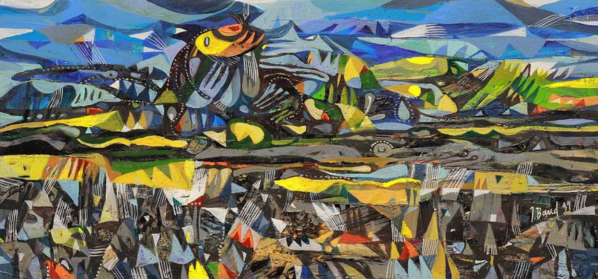 Bewegte Landschaft, 2019, Mischtechnik auf Holz, 27 x 58 cm