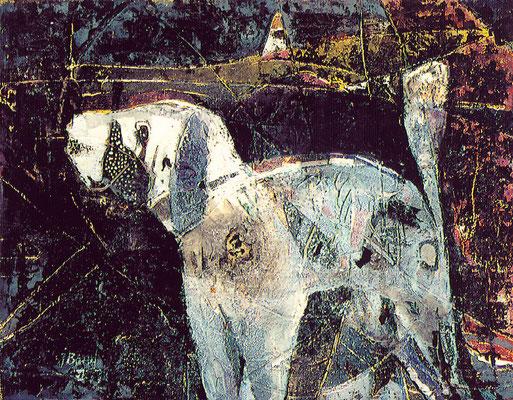 Der kleine Hund, 1992, Mischtechnik auf Leinwand, 30 x 40 cm